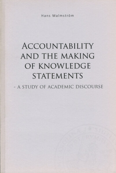 Accountability and the making of knowledge statements